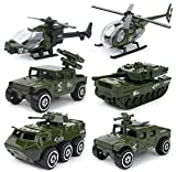 6 Cars in 1 Set Die-cast Metal Playset Toy Vehicle Models, Toy Military Helicopter Tank Jeep Truck Armored Car