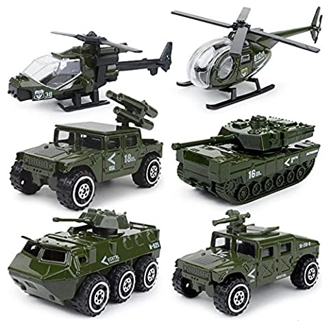 6 Cars in 1 Set Die-cast Metal Playset Toy Vehicle Models, Toy Military Helicopter Tank Jeep Truck Armored (Military Vehicles 1 18)