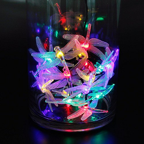 Outdoor String Lights Multicolor : CYLAPEX LED Solar String Lights Outdoor, Multicolor Dragonfly 20 LEDs 16feet Waterproof, Starry ...