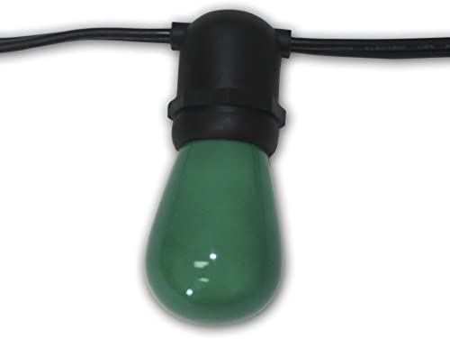 String Light Company Aspen 48-Ft Outdoor Commercial String Lights with 24 Sockets and 24 Green S14 Bulbs, 16 Gauge Black Cord