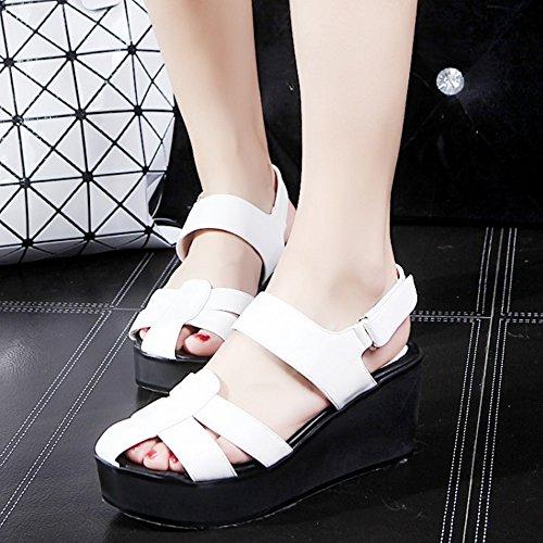 TAOFFEN Mujer Gladiador Wedge Sandalias Tacon Medio Plataforma Verano Zapatos De Hebilla Blanco