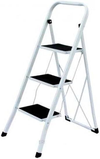 Escalera plegable de metal – – Escalera con sujeción – – Escalera Estable – Escalera combinado – Escaleras de cierre de acero antideslizante hasta 150 kg – presupuesto pedalada – Escalera de tijera, Blanco: Amazon.es: Bricolaje y herramientas