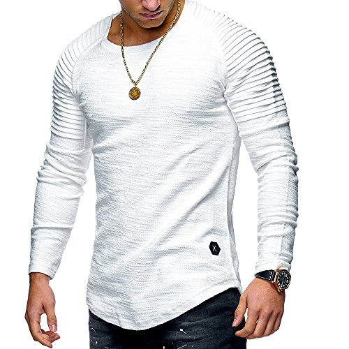 shirt Fitness Longue Shirt Homme Col Jogging Gym Tee Haut Casual Rond Musculation Manche Blanc Wenyujh Top YgqwOUq