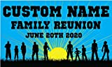 Family Reunion Custom Printed Banner - Blue Rays (10' x 5')