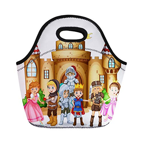 Semtomn Lunch Bags Princess White King Characters From Fairytales and Castle Children Neoprene Lunch Bag Lunchbox Tote Bag Portable Picnic Bag Cooler -