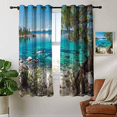 (petpany Window Blackout Curtains Nature,Lake Tahoe Snowy Mountain Reflection on Clear Water Rocky Shore View,Light Blue Green Eggshell,for Room Darkening Panels for Living Room, Bedroom 42