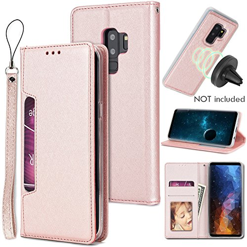 Galaxy S9 Plus Wallet Case with Detachable Slim Case,Kickstand,Card Solts Holder,Slim Fit Magnetic Car Mount,CASEOWL Premium PU Leather Folio Flip Wallet Case for Galaxy S9 Plus 2018(Rose Gold) by CASEOWL