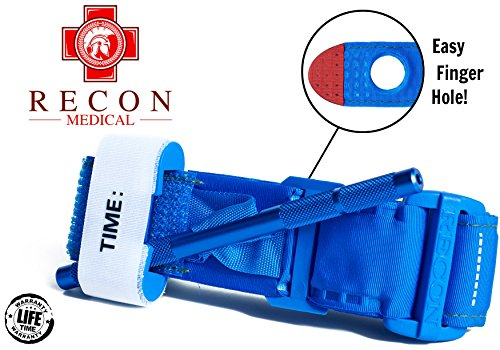 Tourniquet -(BLUE) Recon Medical Gen 3 Mil-Spec Kevlar Metal Windlass Aluminum First Aid Tactical Swat Medic Pre-Hospital Life Saving Hemorrhage Control Registration Card 1 (Gen Metal)