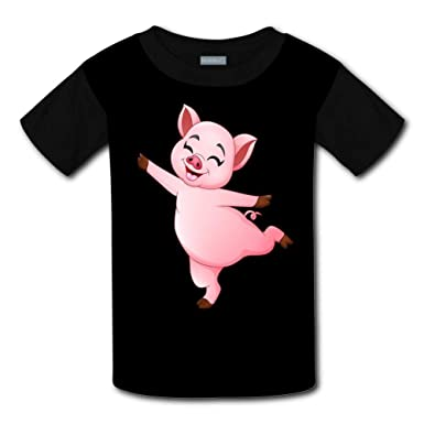 Shirts Short Sleeve Kids Tee Unisex Youth 3D Cartoon Little Pig Dancing T