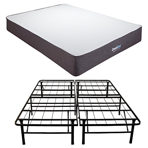 Classic Brands Cool Gel Ventilated Gel Memory Foam 10.5-Inch Mattress with Hercules 14-Inch Heavy-Duty Metal Platform Bed Frame, California (Ventilated Metal)