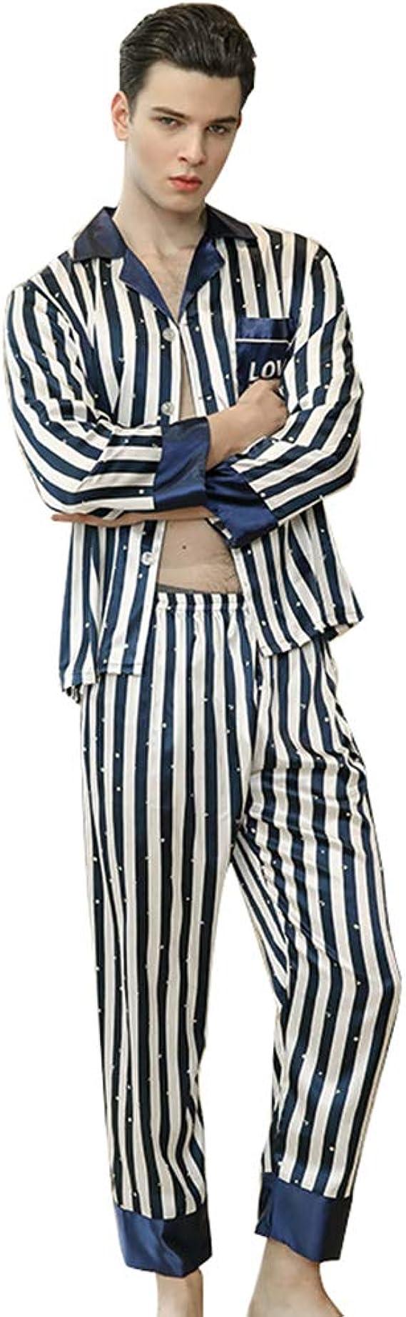 WanYangg Hombre Conjunto De Pijama De Satén Elegante De Mangas Largas para Masculinas Dos Piezas Botones Pijama De Estampado A Rayas Homewear Batas De ...