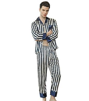 WanYangg Hombre Conjunto De Pijama De Satén Elegante De Mangas Largas para Masculinas Dos Piezas Botones Pijama De Estampado A Rayas Homewear Batas De Casa: ...
