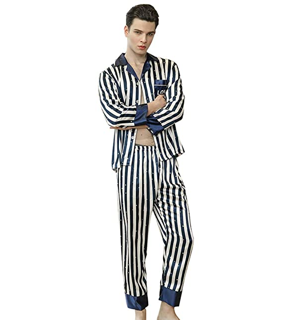 WanYangg Hombre Conjunto De Pijama De Satén Elegante De Mangas Largas para Masculinas Dos Piezas Botones