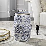Safavieh ACS4514A Castle Gardens Collection Glazed Ceramic Birds Garden Stool, Blue