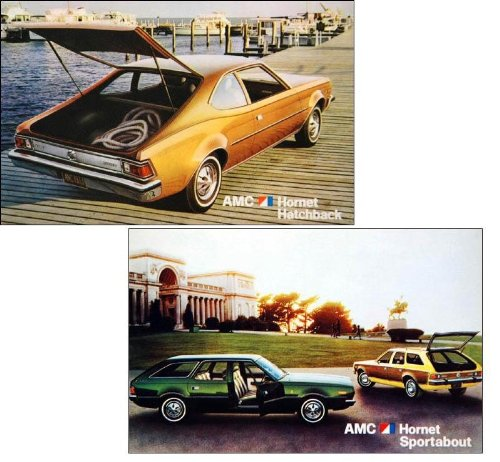 1973 AMC AMERICAN MOTORS HORNET HATCHBACK & SPORTABOUT COLOR POSTCARDS - LOT OF 2 ORIGINAL UNCIRCULATED POST CARDS - USA - EXCELLENT !!
