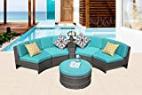 PATIOROMA Patio Furniture Sectional Sofa Set, 6-Piece Sectional Sofa Set All-Weather grey Wicker with Blue Seat Cushions &Storage Table&Ottoman| Patio, Backyard, Pool|Aluminum Frame Review