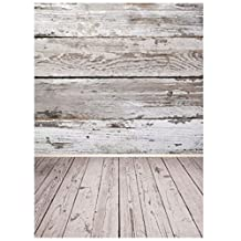 SODIAL(R) 5x7ft Retro Wood Floor Wall Studio Photography Background Photo Backdrops Props