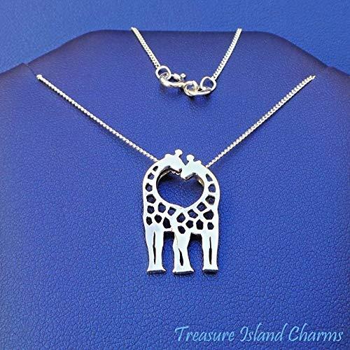 Giraffes Kissing Hugging 925 Sterling Silver Necklace 16'' or 18'' Giraffe Pendant