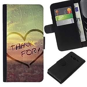 Planetar® Modelo colorido cuero carpeta tirón caso cubierta piel Holster Funda protección Para Samsung Galaxy A3 / SM-A300 ( Love Thank For )