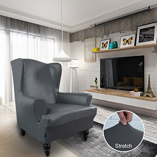 Easy-Going PU Leather Wing Chair Slipcovers, 1 Piece Waterproof Sofa Covers, Stretch Furniture Protector with Anti-Slip Foams Elastic Bottom Shield by (Wing Chair, Dark Gray)