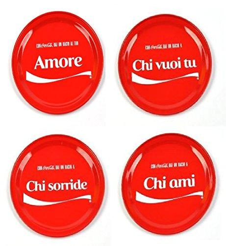 Italian Love Version 4 Piece Red Drink Coca-Cola Metal Coaster Set