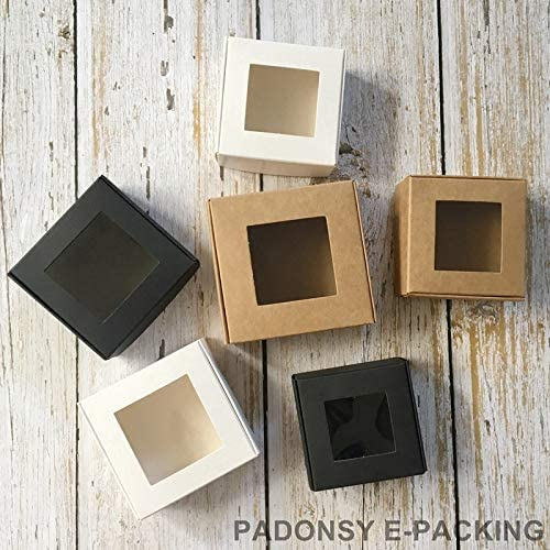 Caja de papel kraft transparente de PVC, 50 unidades, caja de ...