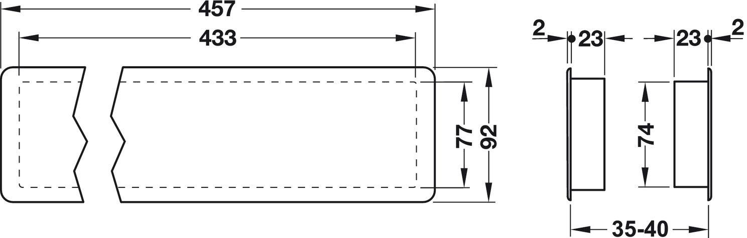 Gris 1 Juego Dormitorio Instalaci/ón F/ácil en Ambos Lados de Puerta de Ba/ño Cubierta Rectangular para Aeraci/ón 457 x 92 mm Gedotec Rejillas de Ventilaci/ón para Puerta