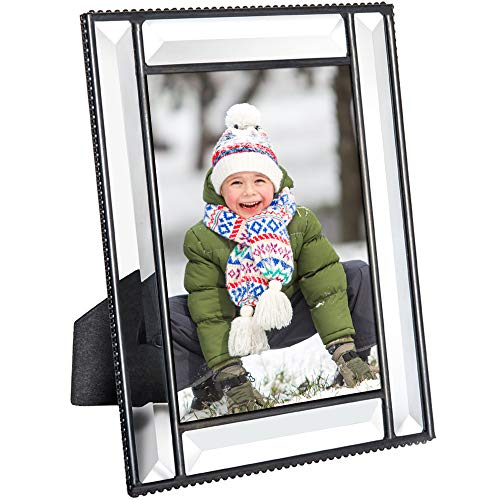 Beveled Glass Picture Frame Easel Back 4x6 Photo Frame Wedding Anniversary Engagement Graduation Gift Home Decor Clear J Devlin Pic 354-46HV (4x6)