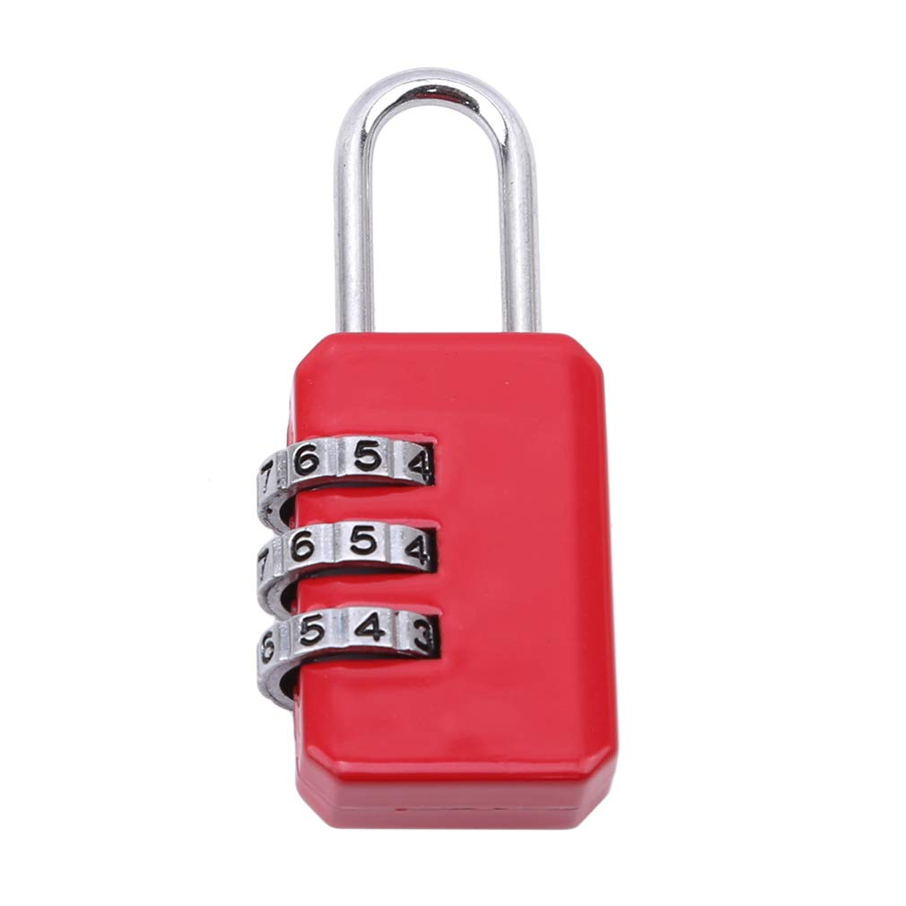 EH-LIFE Luggage Password 3 Dial Digit Combination Suitcase Code Lock Padlock Easy Convenience Red