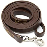 Hero Leather Genuine Full Grain Leather Training Leash - 6 Foot (Brown)
