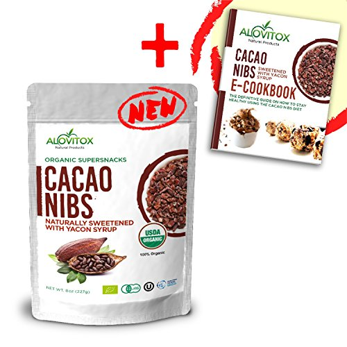 Cacao Nibs Naturally Sweetened with Yacon Syrup - Caffeine-Free Zero Sugar Keto Paleo and Vegan Friendly - Criollo Raw Cocoa Chocolate Nutritional Protein Snack - USDA Organic 8oz by Alovitox (1 Pack)