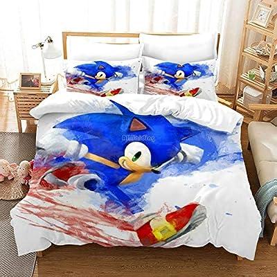 New 3D Sonic Luxury Bedding Set Adult Kids Cartoon Cotton Bed Linen Duvet Cover Set Pillowcase Queen King Size No Sheet (1,Queen): Home & Kitchen