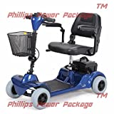 Merits Health Products, POWER PACKAGE ($500 VALUE), Mini Coupe 4-Wheel Super Micro Electric Scooter, 16.5''Wx15.5''D, Blue - PHILLIPS POWER PACKAGE TM - TO $500 VALUE