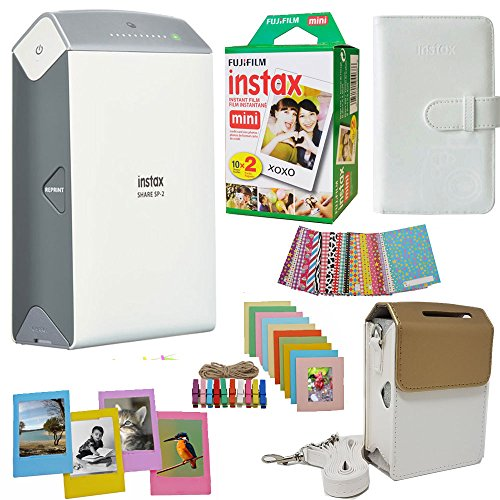 Fujifilm INSTAX Share SP-2 Smart Phone Printer (Silver) + Fuji Instax Film Mini Twin Pack (20PK) Fuji Photo Album + Accessories Kit/Bundle + Fitted Case + Frames and More