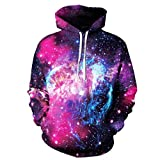 MODOQO Pullover Hoodies for Women Men 3D Star Print Long Sleeve Hooded Sweatshirts Jumper for Autumn Winter Sports