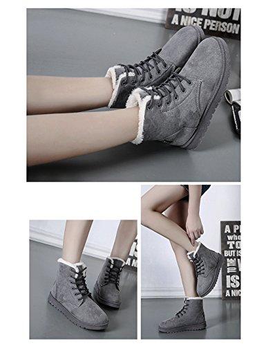 Eshion Femmes Filles Hiver Chaud Cheville Lacets Bottes De Neige Plate-forme Sneaker Chaussures Gris