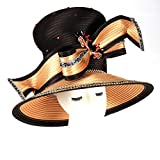 Koola Black Women Church Kentucky Derby Wide Brim Wedding Cocktail Party Hats (Orange Black)