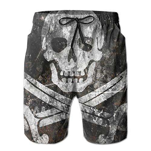 Mens Swim Trunks Summer Cool Pirate Skull Flag Quick Dry Board Shorts Bathing Suit with Side Pockets Mesh Lining M-XXL