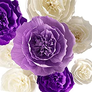 Paper Flower Decorations, Crepe Paper Flowers, Large Paper Flowers, Handcrafted Flowers, Giant Paper Flowers (Purple, Beige, Lavender, Set of 8 ) for Wedding Backdrop, Bridal Shower, Baby Shower 9