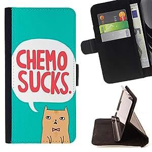King Case - FOR Samsung Galaxy S4 Mini i9190 - chemo sucks - Prima caja de la PU billetera de cuero con ranuras para tarjetas, efectivo Compartimiento desmontable y correa para la mu?eca