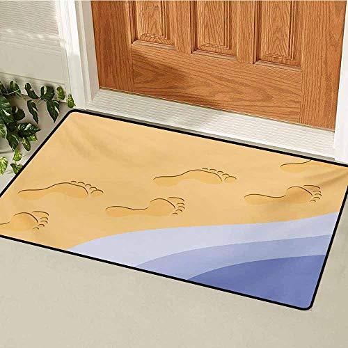 GUUVOR Modern Welcome Door mat Footprints Sand Realistic Print Near Ocean Waves Digital Image Door mat is odorless and Durable W19.7 x L31.5 Inch Baby Blue Purple Green Apricot