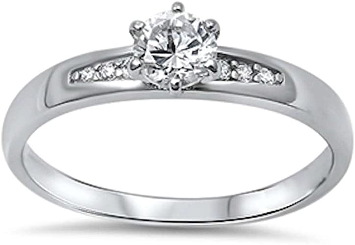 6MM Round Solitaire Cubic Zirconia .925 Sterling Silver  Ring Sizes 4-10