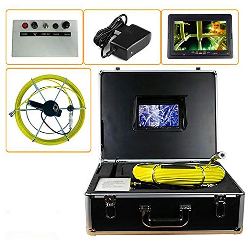 Sewer Camera Drain Pipe Inspection - Underwater Vent Video Endoscope Sony CCD Head Ø0.9 inch - 329ft Fiberglass Push Cable (100 m long line) - 7 inch DVR with 8G SD Card