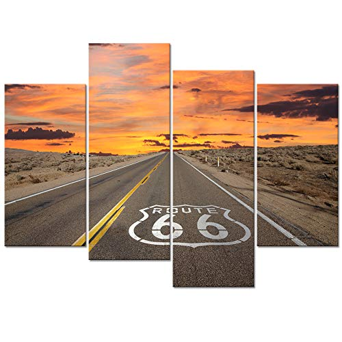 - Welmeco Large 4 Pieces Canvas Wall Art Route 66 Sign Sunrise in California's Mojave Desert Road Scenery Picture Prints Framed Ready to Hang Modern Home Office Decor (01 Route 66)