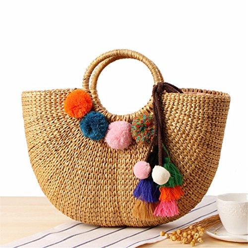 e3ad62c12917 BoBoSaLa Beach Bag Straw Totes Bag Bucket Summer Bags With Tassels Women  Handbag Braided Tassel Rattan Bag C234 A