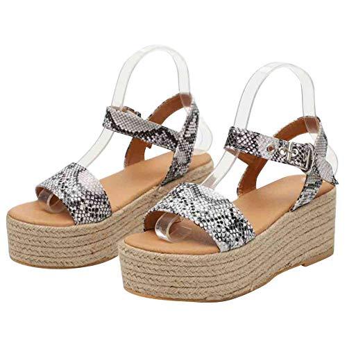 XFASY Womens Platform Sandals Slingback Summer Open Toe Espadrille Ankle Adjustable Strap (Snakeskin Pattern,7 M US)