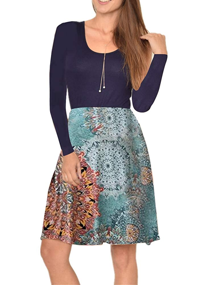 bluee Poulax Women's Long Sleeve Pocket Casual Striped Print Pleated TShirt Dress