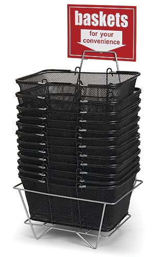 12 Large Wire Mesh Store Shopping Baskets + Metal Display Stand - Black