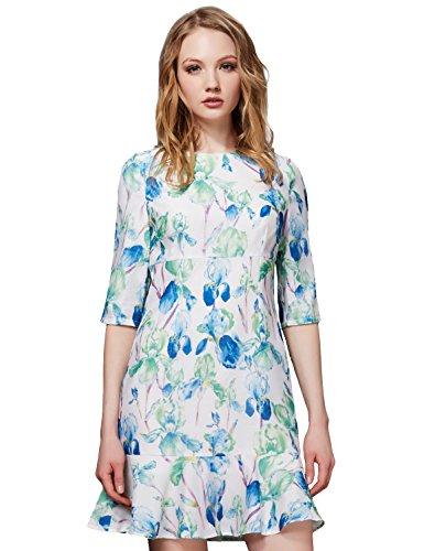 Buy blue floral print drop waist dress - 4