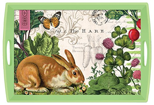 Decoupage Serving Tray - Michel Design Works Decoupage Wooden Tray, 20 x 13.75-Inch, Garden Bunny